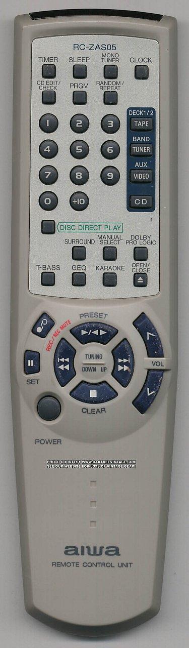 Aiwa GE-NDPH2100, RC-ZAS05 náhradní dálkový ovladač jiného vzhledu.