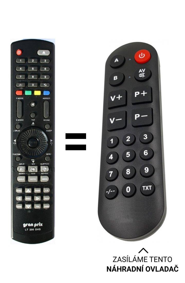 Gran Prix LT200 DVD replacement remote control for seniors.