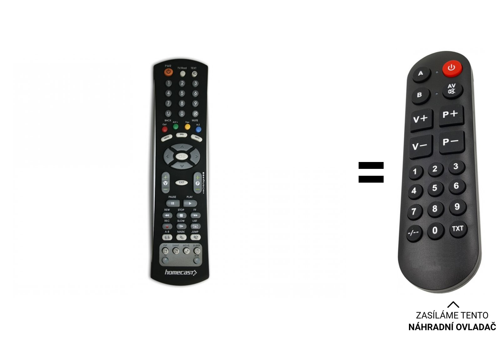 Homecast HS8100CIPVR, HT8000, HT8200 replacement remote control for seniors