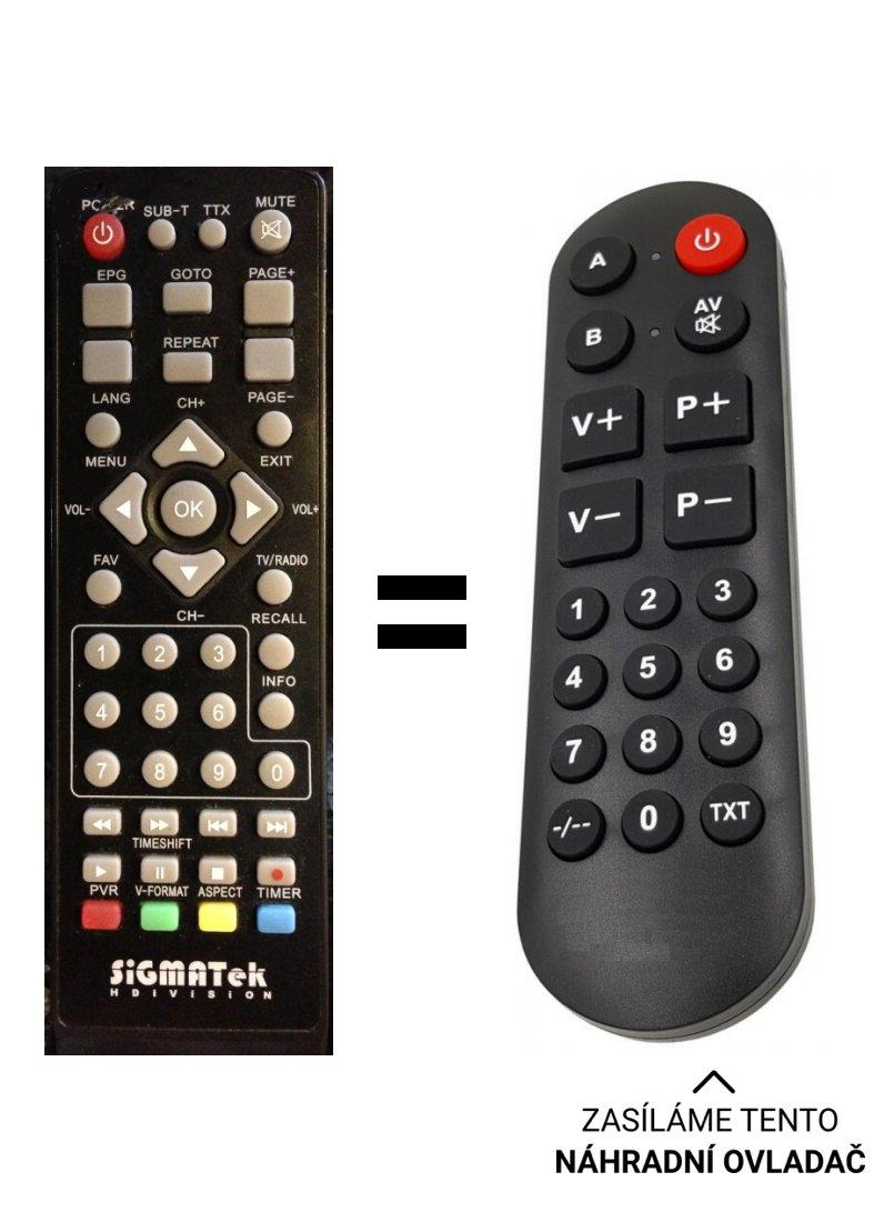 Sigmatek DVBR-420HD HD-DVBT-RECEIVER replacement remote control for seniors.