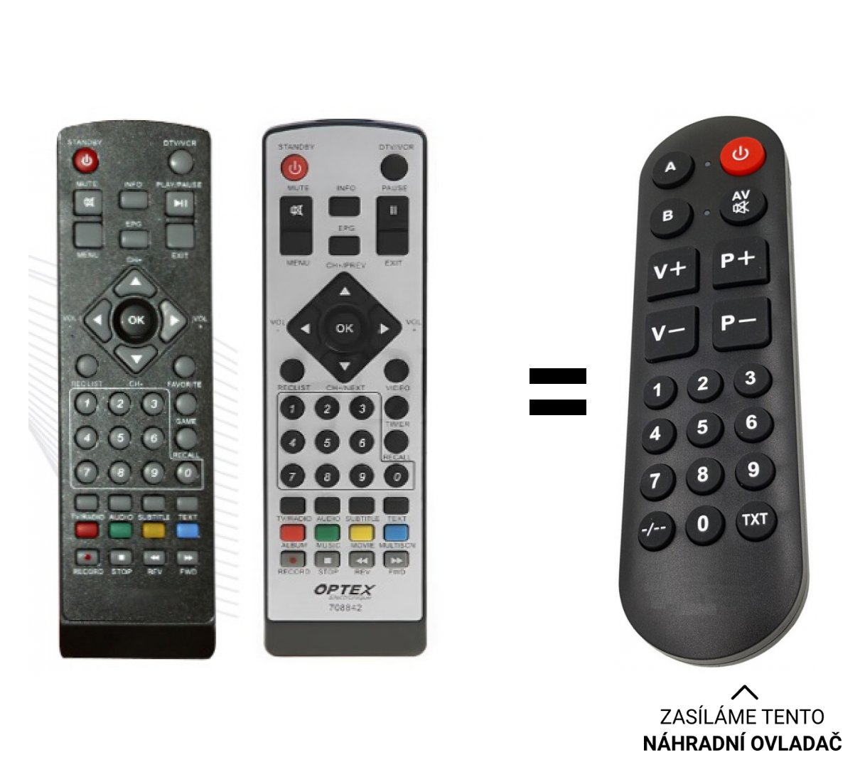Optex ORT8842 ORT-8842 replacement remote control for seniors.