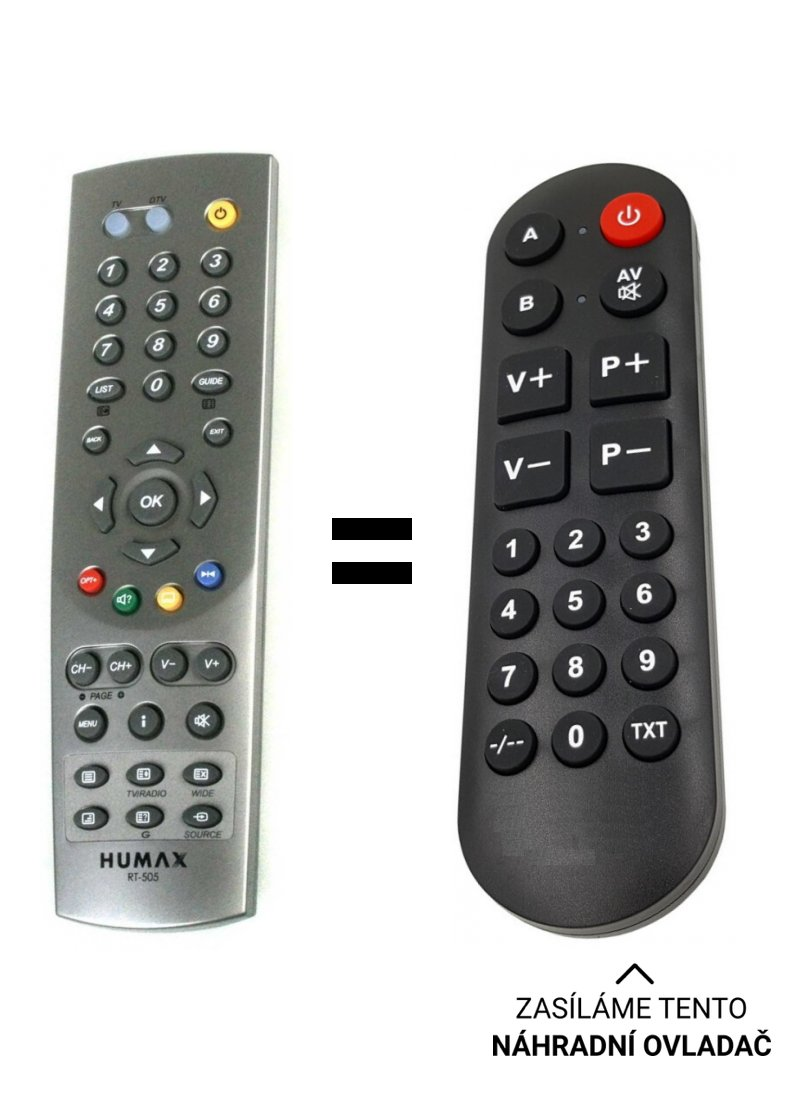 Humax RT-505 RT-525 replacement remote control for seniors.