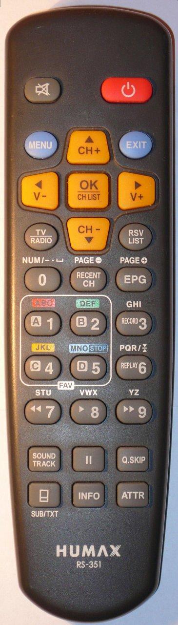 Humax RX-351, RS351 náhradní dálkový ovladač jiného vzhledu.
