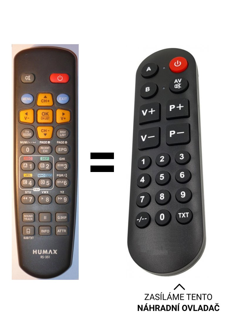 Humax RX-351, RS351 replacement remote control for seniors.