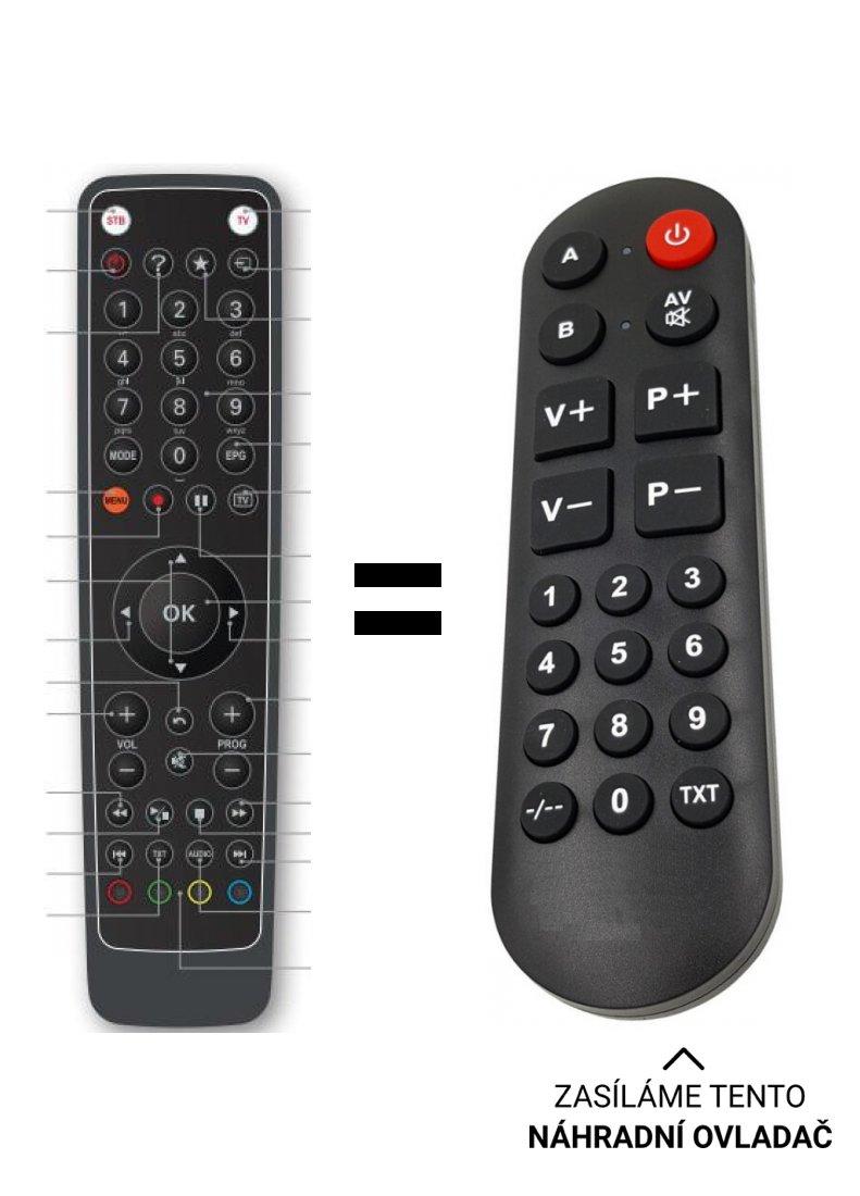 Náhradní dálkový ovladač pro Set-top box pro O2 TV IP4.tv EVO4-T  pro seniory