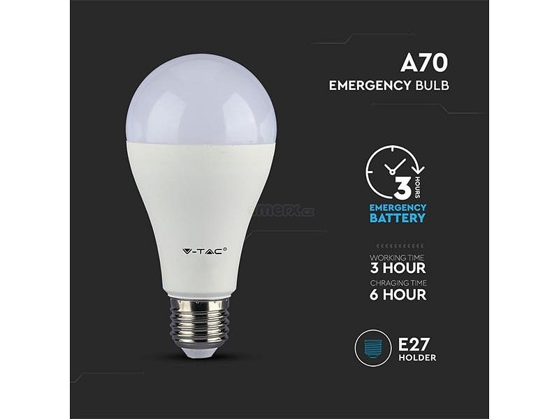 Žárovka LED E27 9W A60 4000K V-TAC VT-2309 Emergency