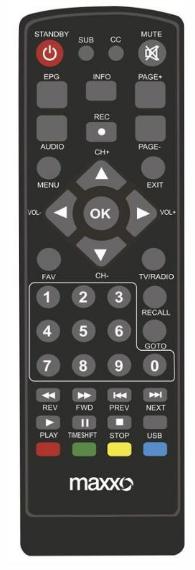 Maxxo T2 H.265 náhradní dálkový ovladač jiného vzhledu