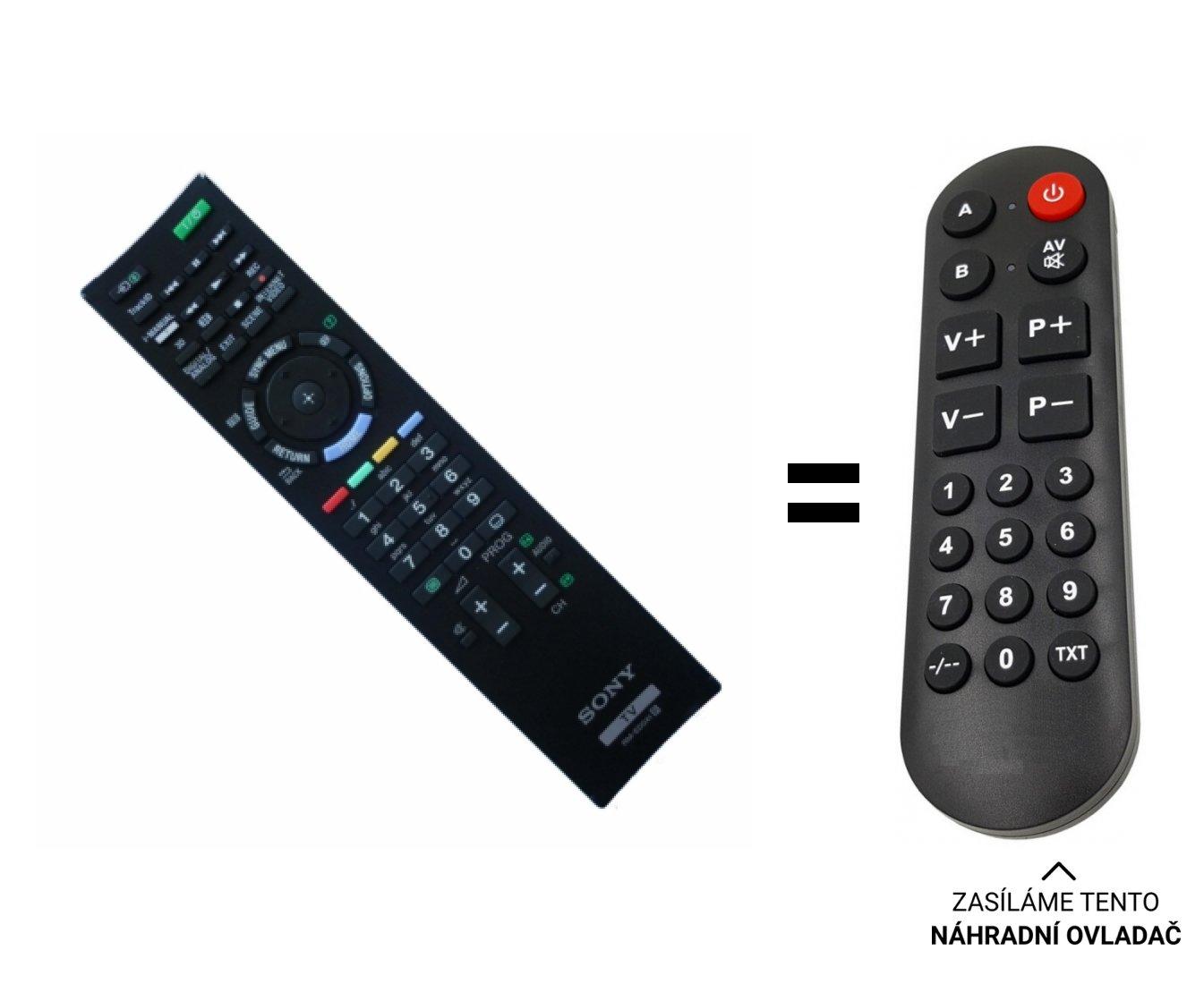 Sony KDL-40EX724, KDL40ex724 náhradní dálkový ovladač pro seniory