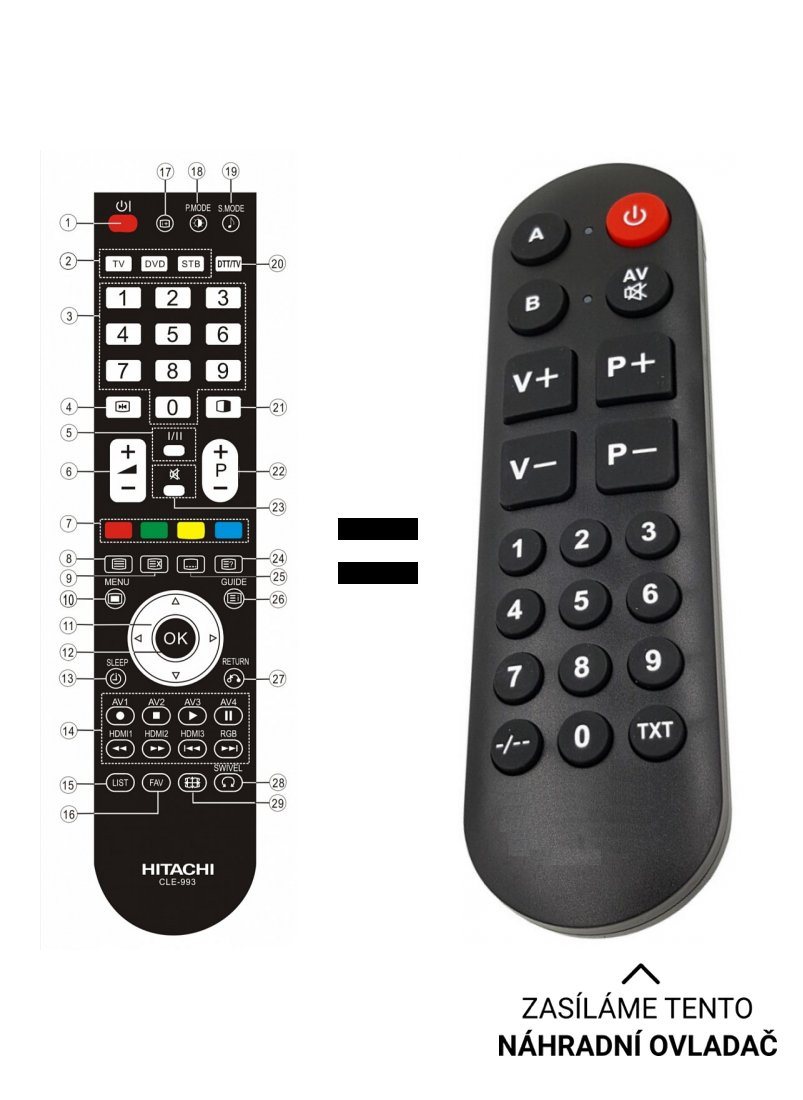 Hitachi L37X01AU, L42X01AU, CLE-993 replacement remote control for seniors