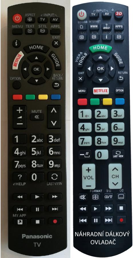 Panasonic N2QAYB001111 náhradní dálkový ovladač se stejným popisem