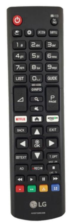 LG 24TN510S náhradní dálkový ovladač jiného vzhledu.