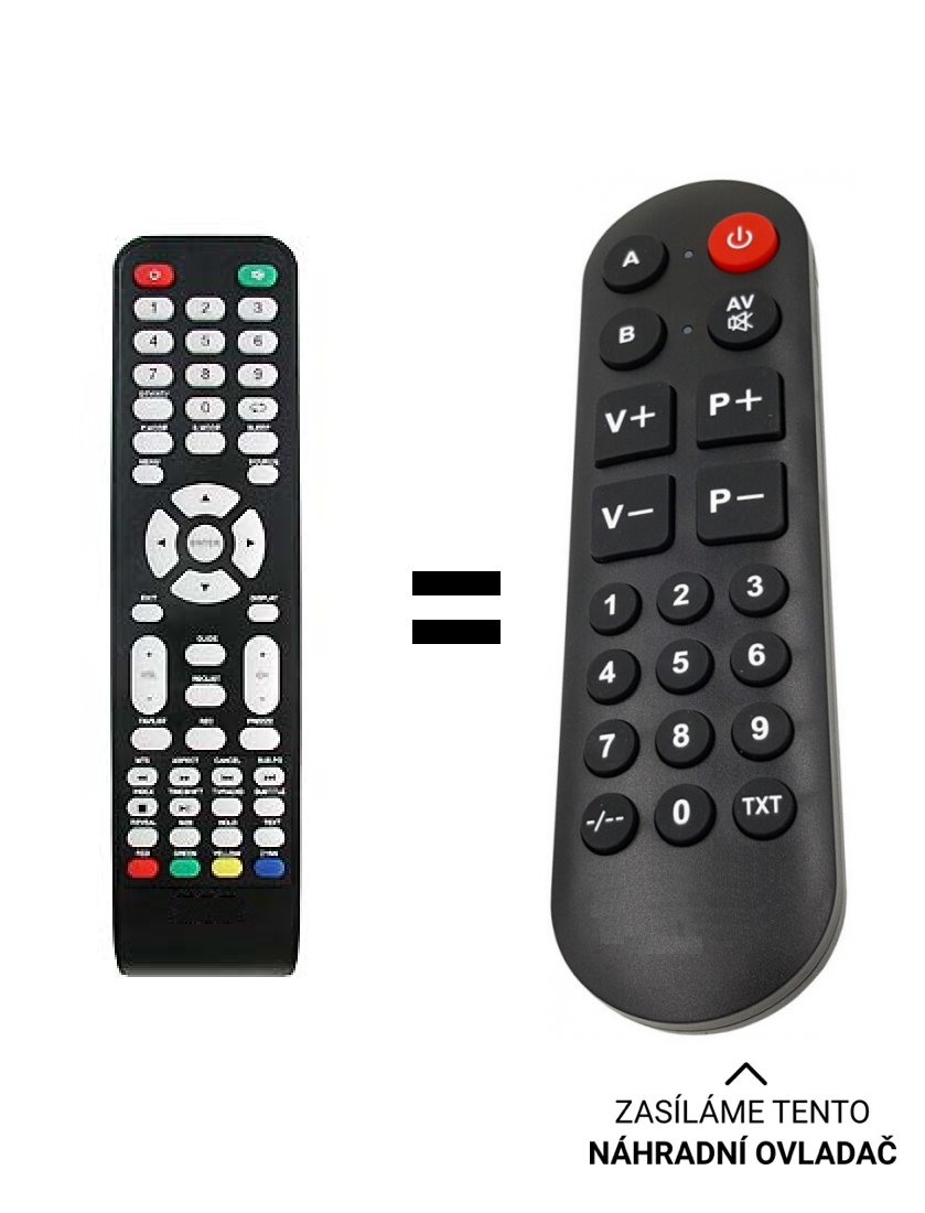 ECG 24LED622PVR, 24H03T2S2 replacement remote control for seniors